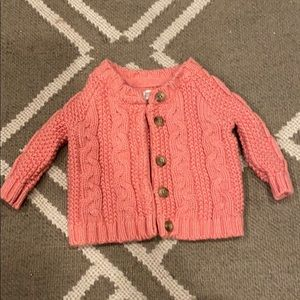 Pink cable knit sweater baby girl 0-3 month new